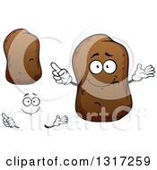Clipart Of A Cartoon Face Hands And Russet Potatoes Royalty Free Vector Illustration