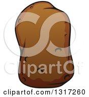 Clipart Of A Cartoon Russet Potato Royalty Free Vector Illustration