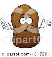 Clipart Of A Cartoon Russet Potato Character Presenting And Pointing Royalty Free Vector Illustration
