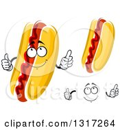 Clipart Of A Cartoon Face Hands And Hot Dogs With Ketchup Royalty Free Vector Illustration