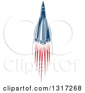 Clipart Of A Retro Blue Rocket With Red Flames Royalty Free Vector Illustration