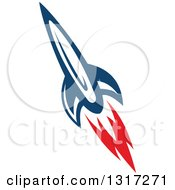 Clipart Of A Retro Blue Rocket With Red Flames 10 Royalty Free Vector Illustration