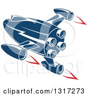 Clipart Of A Retro Blue Rocket With Red Flames 12 Royalty Free Vector Illustration