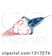 Retro Blue Rocket With Red Flames 13