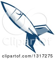 Retro Blue Space Rocket 13