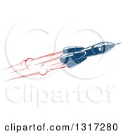 Clipart Of A Retro Blue Rocket With Red Flames 15 Royalty Free Vector Illustration by Vector Tradition SM
