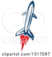 Clipart Of A Retro Blue Rocket With Red Flames 6 Royalty Free Vector Illustration by Vector Tradition SM