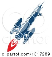 Clipart Of A Retro Blue Rocket With Red Flames 4 Royalty Free Vector Illustration by Vector Tradition SM