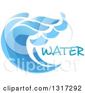 Clipart Of A Blue Splash Or Surf Wave With Water Text Royalty Free Vector Illustration