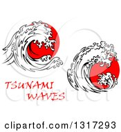 Clipart Of Black And White Tsunami Waves Over Red Royalty Free Vector Illustration