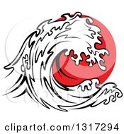 Clipart Of A Black And White Tsunami Wave Over Red Royalty Free Vector Illustration