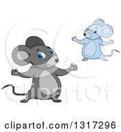 Clipart Of Cartoon Welcoming Gray And Blue Mice Royalty Free Vector Illustration
