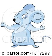 Clipart Of A Cartoon Welcoming Blue Mouse Royalty Free Vector Illustration