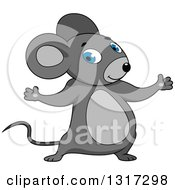 Clipart Of A Cartoon Welcoming Gray Mouse Royalty Free Vector Illustration