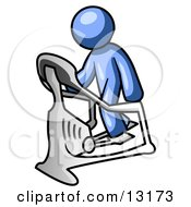 Blue Man Exercising On A Stair Climber During A Cardio Workout In A Fitness Gym Clipart Illustration