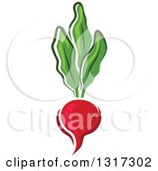 Clipart Of A Cartoon Radish And Greens Royalty Free Vector Illustration