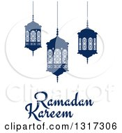Clipart Of A Ramadan Kareem Greeting With Blue Lanterns Royalty Free Vector Illustration by Vector Tradition SM