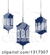 Clipart Of Navy Blue Ramadan Kareem Lanterns Royalty Free Vector Illustration
