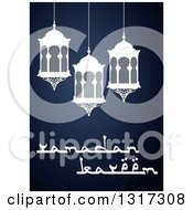 Clipart Of A Ramadan Kareem Greeting With Lanterns On Blue Royalty Free Vector Illustration by Vector Tradition SM