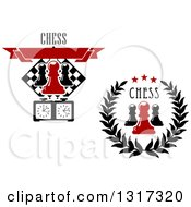 Clipart Of Chess Pawn And Timer Designs With Text Royalty Free Vector Illustration