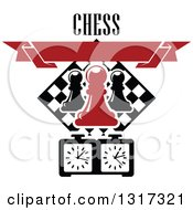 Clipart Of A Chess Board Diamond Pawn Pieces Blank Red Banner Timer And Text Royalty Free Vector Illustration