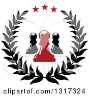 Clipart Of A Laurel And Star Wreath With Black And Red Chess Pawn Pieces Royalty Free Vector Illustration by Vector Tradition SM