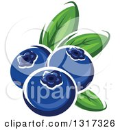 Clipart Of Cartoon Blueberries With Leaves Royalty Free Vector Illustration