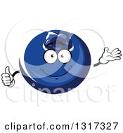 Clipart Of A Cartoon Blueberry Character Presenting And Giving A Thumb Up Royalty Free Vector Illustration by Vector Tradition SM