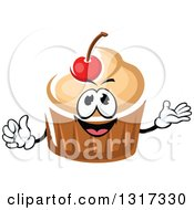 Clipart Of A Cartoon Cupcake Character With Vanilla Frosting And A Cherry Giving A Thumb Up And Presenting Royalty Free Vector Illustration