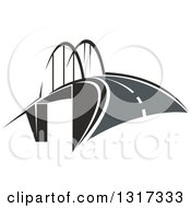 Clipart Of A Road And Bridge Royalty Free Vector Illustration