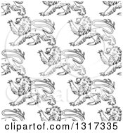 Clipart Of A Seamless Pattern Background Of Black And White Lions 2 Royalty Free Vector Illustration