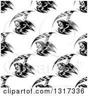 Clipart Of A Seamless Background Pattern Of Black And White Grim Reapers With Racing Flag Scythes Royalty Free Vector Illustration by Vector Tradition SM