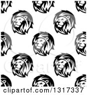 Seamless Background Pattern Of Lions In Black And White 2