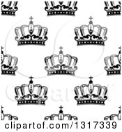 Clipart Of A Seamless Background Pattern Of Black And White Ornate Crowns 7 Royalty Free Vector Illustration
