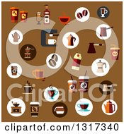 Clipart Of Flat Design Icons Of Coffee Cups Makers Grinders Beans And Other Items On Brown Royalty Free Vector Illustration