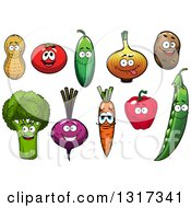 Clipart Of Cartoon Peanut Tomato Cucumber Onion Potato Broccoli Beet Carrot Bell Pepper And Pea Characters Royalty Free Vector Illustration