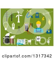 Clipart Of A Flat Design Male Electrician With Energy Items On Green Royalty Free Vector Illustration
