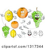 Clipart Of Cartoon Lemon Orange Green Grapes Faces And Hands Royalty Free Vector Illustration