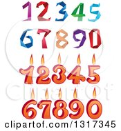 Clipart Of Origami And Birthday Candle Numbers Royalty Free Vector Illustration