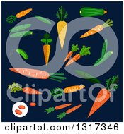 Clipart Of A Flat Design Carrots Cucumbers And Beans On Navy Blue Royalty Free Vector Illustration by Vector Tradition SM