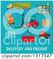 Clipart Of A Flat Design Delivery And Freight Truck Crate Barcode Container Shelving Loader And Wooden Box With Text On Blue Royalty Free Vector Illustration