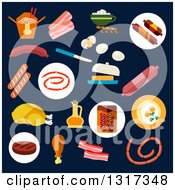 Clipart Of A Flat Design Of Meats On Navy Blue Royalty Free Vector Illustration by Vector Tradition SM