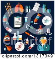 Clipart Of Flat Design Medical Icons With Medication And Diagnostics As Drugs Pills DNA Syringe Blood Doctor Tubes Flasks And Prescription On Blue Royalty Free Vector Illustration