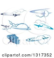 Clipart Of Blue Airplanes Flying Over Clouds 4 Royalty Free Vector Illustration