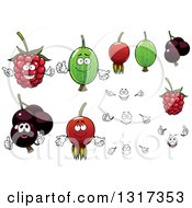 Clipart Of A Cartoon Raspberry Briar Berry Currant And Gooseberry With Faces And Hands Royalty Free Vector Illustration