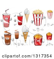 Clipart Of Cartoon Fountain Sodas Waffle Cones Popcorn French Fries And Coffee Characters Royalty Free Vector Illustration by Vector Tradition SM