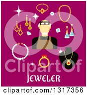 Clipart Of A Flat Design Male Jeweler Or Goldsmith With Jewelery On Pink Royalty Free Vector Illustration