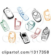 Clipart Of Colorful Sketched Cell Phones Royalty Free Vector Illustration