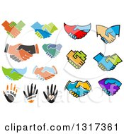 Clipart Of Hands And Handshakes Royalty Free Vector Illustration