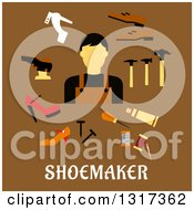 Clipart Of A Flat Design Shoe Maker With Tools Over Text On Brown Royalty Free Vector Illustration by Vector Tradition SM